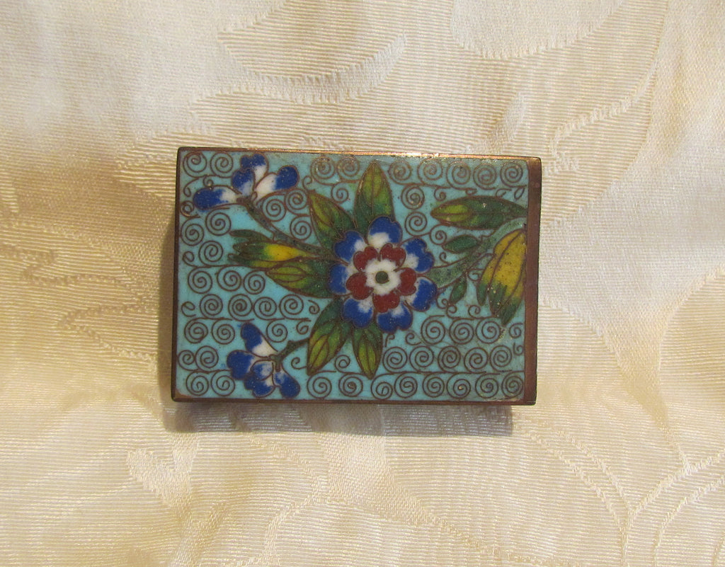 Vintage Match Box Holder Cloisonne 1920s Enamel Copper Match Safe Matchbox Cover