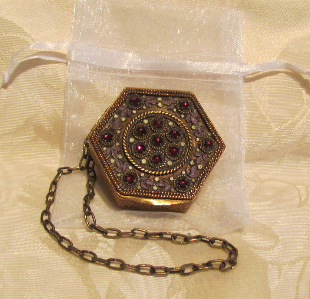Gold Compact Purse Fuchsia Rhinestones 1890s French Polygon Powder Compact Purse