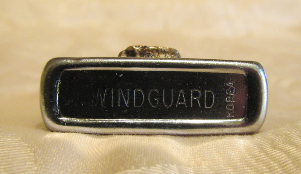 Silver Flip Top Pocket Lighter 1950s Windguard Lighter Working Windproof Copper Deer