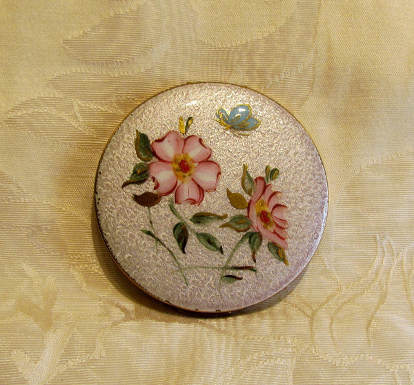Vintage Guilloche Compact 1950s Powder Mirror Floral Butterfly Compact