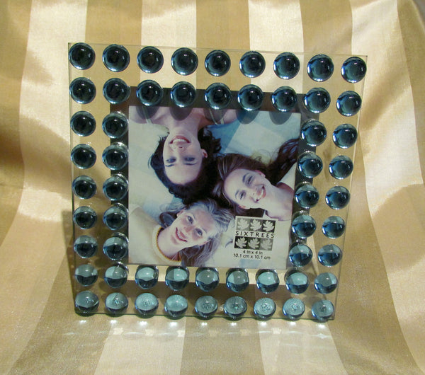 Modern Glass Picture Frame Iridescent Blue Cabochon Tabletop Photo Frame New Unused