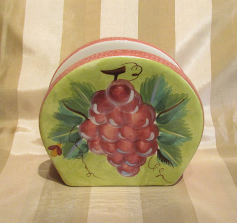 Ceramic Napkin Holder Grapes Kitchen Dining Decor Unused Excellent Condition