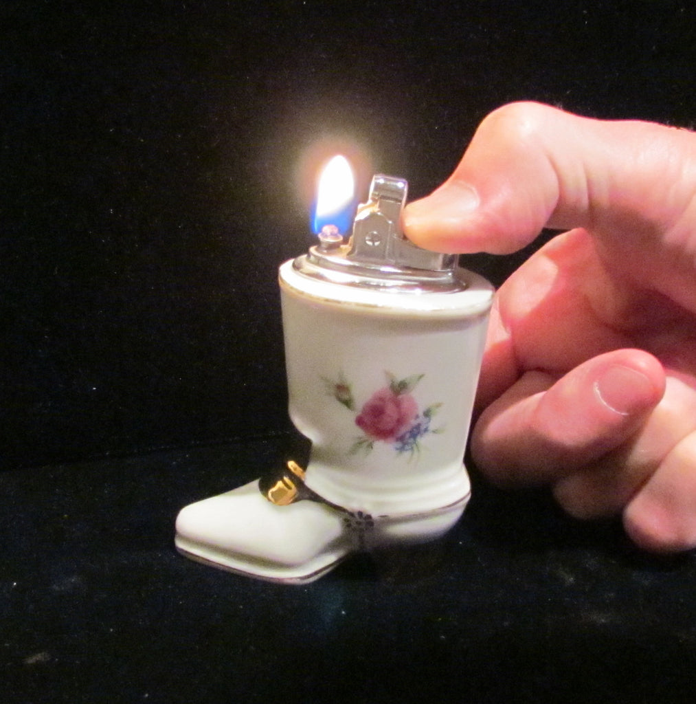 1940s Table Lighter Cigarette Lighter Vintage Lighter Porcelain Lighter Floral Silver Ceramic Boot WORKING