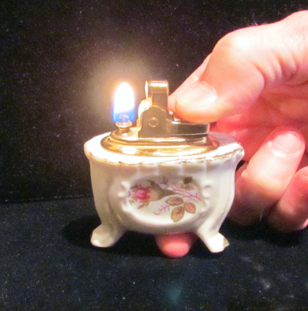 Vintage Porcelain Table Lighter Floral Ceramic Tabletop Lighter Hand Painted Working