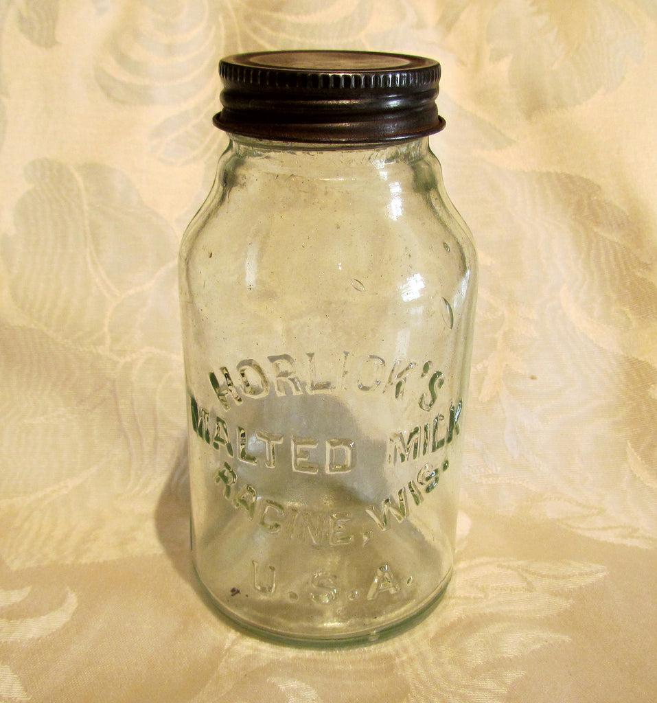 Horlick's Malted Milk Bottle  Antique Mason Jar Glass Storage Canning Jar Racine Wisconsin USA