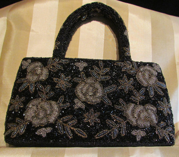 Vintage Black Beaded Purse Black Iridescent Floral Bead Bag Formal Mint Condition