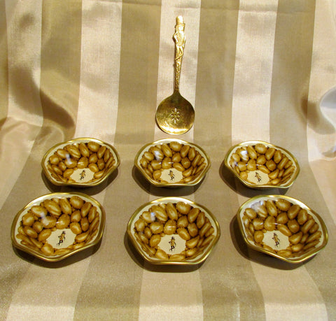 Vintage Mr Peanut Serving Set Gold Spoon 6 Peanut Dishes
