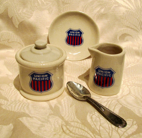 1940s Union Pacific Ceramic Serving Set Creamer Sugar Bowl w/Spoon And Butter Dish