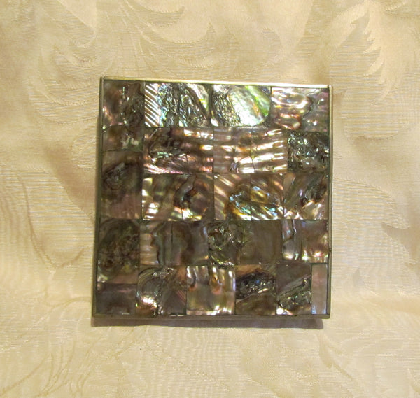 Handmade Abalone Cigarette Box 1940's Silver Tabletop Cigarette Case Vintage Trinket Jewelry Box