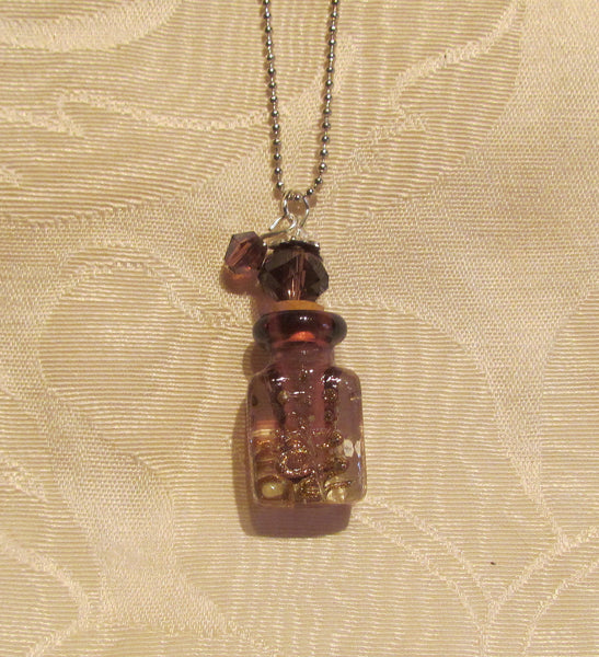 Murano Perfume Bottle Necklace Handmade Lampwork Art Glass Silver Purple Pendant Bottle
