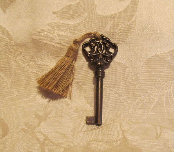 Antique Cabinet Key Ornate Bronze Gold Tassel Huwil Key