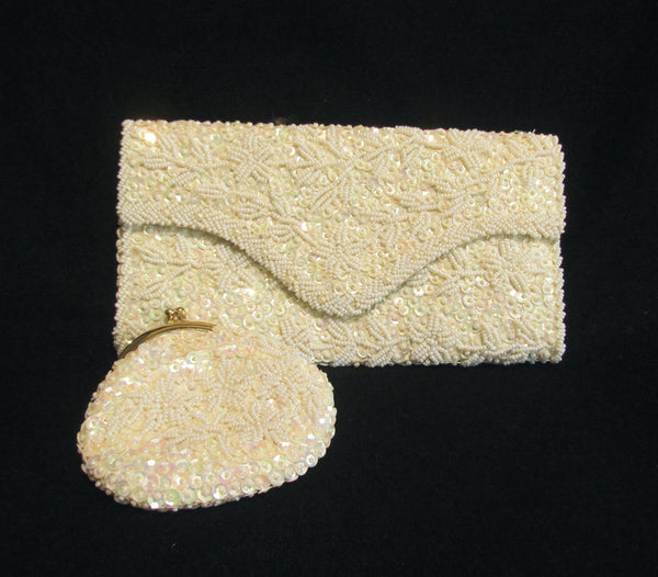 White Beaded Clutch Purse Iridescent Sequins With Matching Change Purse Mint Unused 1950s Bridal Bag