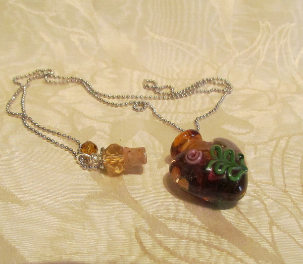 Heart Perfume Bottle Necklace Murano Handmade Art Glass Silver Amber Lampwork Pendant Bottle
