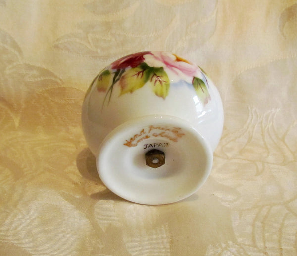 1940s Table Lighter Cigarette Lighter Vintage Hand Painted Bone China Floral Gold Ceramic WORKING