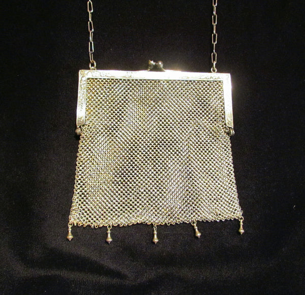 Antique German Silver Purse ChainMail Purse Victorian Mesh Bag Pink Cabochon Clasp
