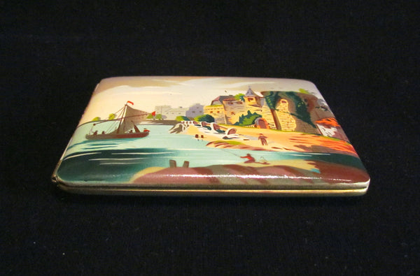 1930s German Enamel Cigarette Case Cigarette Holder Set Boxed