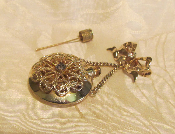Gold Perfume Bottle Brooch Vintage Rhinestone Pin 1940's Perfume Vial