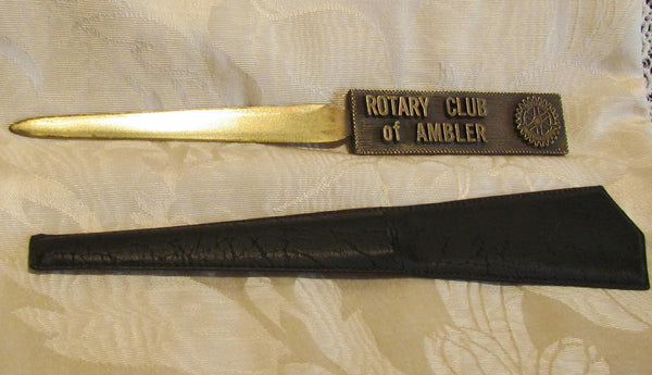 1930s Rotary Club Letter Opener Ambler Pennsylvania Brass With Leather Sleeve