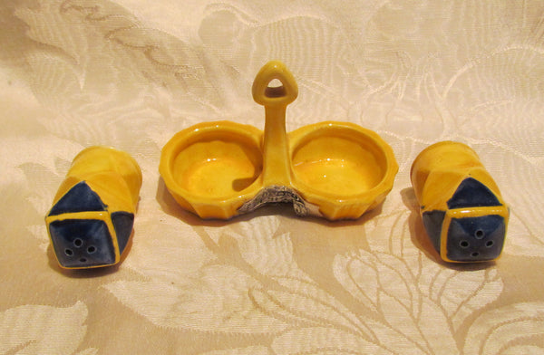 Salt & Pepper Shakers Set 1930s Pair Of Shakers Yellow Blue With Holder