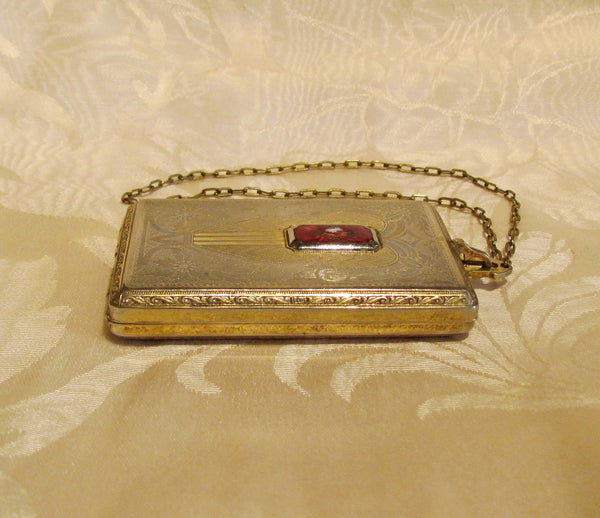 1910s Compact Coin Purse Red Guilloche Wristlet Dance Purse