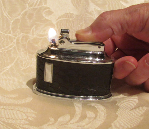 Ronson Senator Table Lighter 1950s Brown Leather Chrome Working Lighter