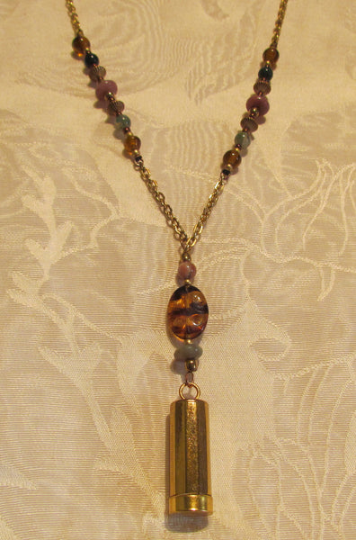 Vintage Folda Cigarette Holder Necklace Handmade Semi Precious Beaded OOAK Pendant Necklace