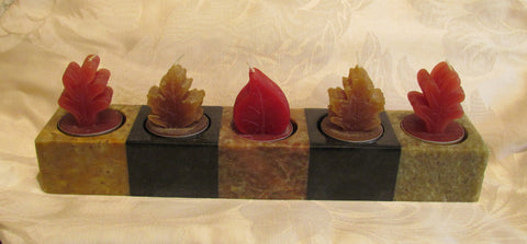 Genuine Soapstone Candle Holder 5 Tea Light Soap Stone Holder With Leaf Candles