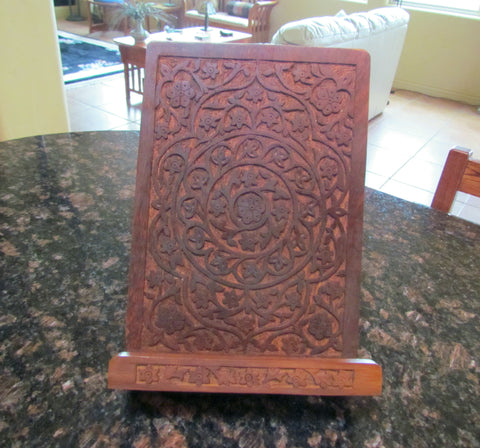 Hand Carved Wooden Book Stand New Shesham Cookbook Holder
