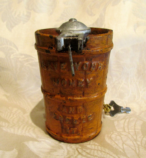 Cast Iron Coin Bank Antique Ice Cream Churn Freeze It Bank With Key 1875 Patent Date