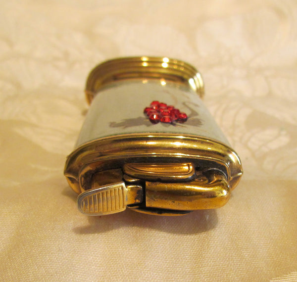 Evans Guilloche Cigarette Box And Lighter Smoking Set Grey Enamel Red Rhinestone Working Lighter