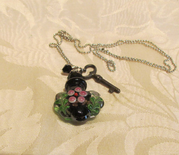 Key To Her Heart Perfume Bottle Necklace OOAK Handmade Silver Plate Blue Lampwork Pendant