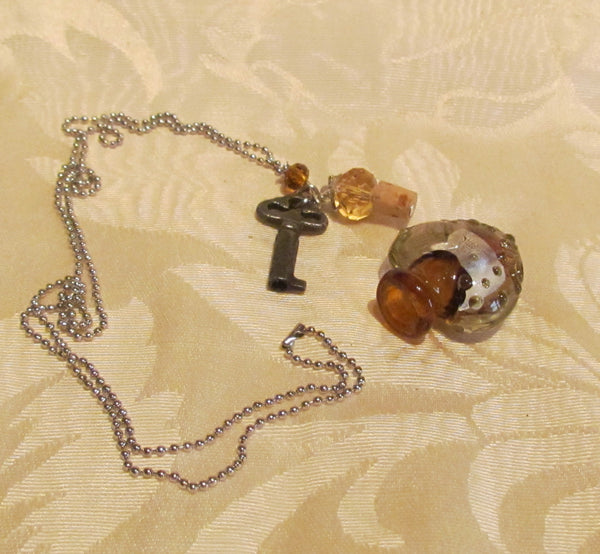 Heart & Key Bottle Necklace Murano Silver Amber Lampwork Pendant Bottle
