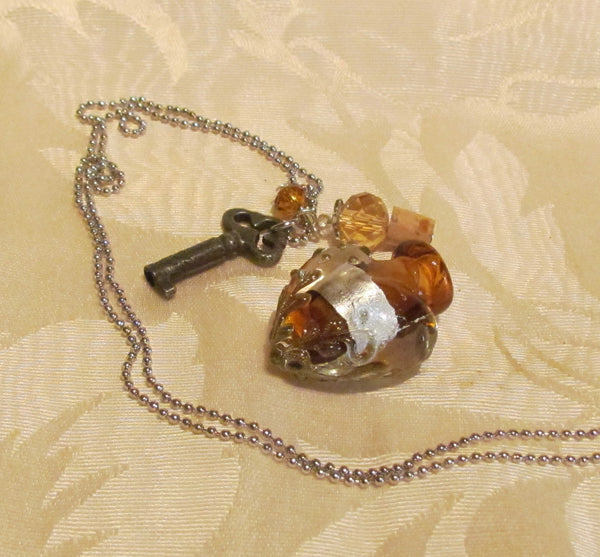 Heart & Key Perfume Bottle Necklace Murano Handmade One Of A Kind Silver Amber Lampwork Pendant Bottle