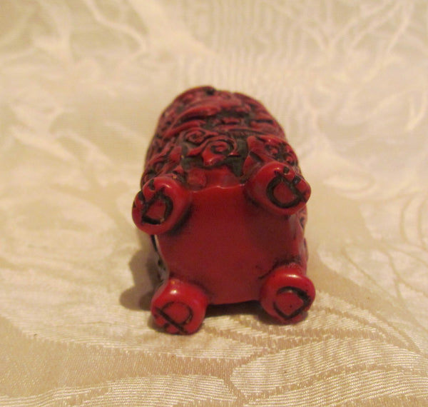 Carved Cinnabar Chinese Perfume Bottle Asian Snuff Holder
