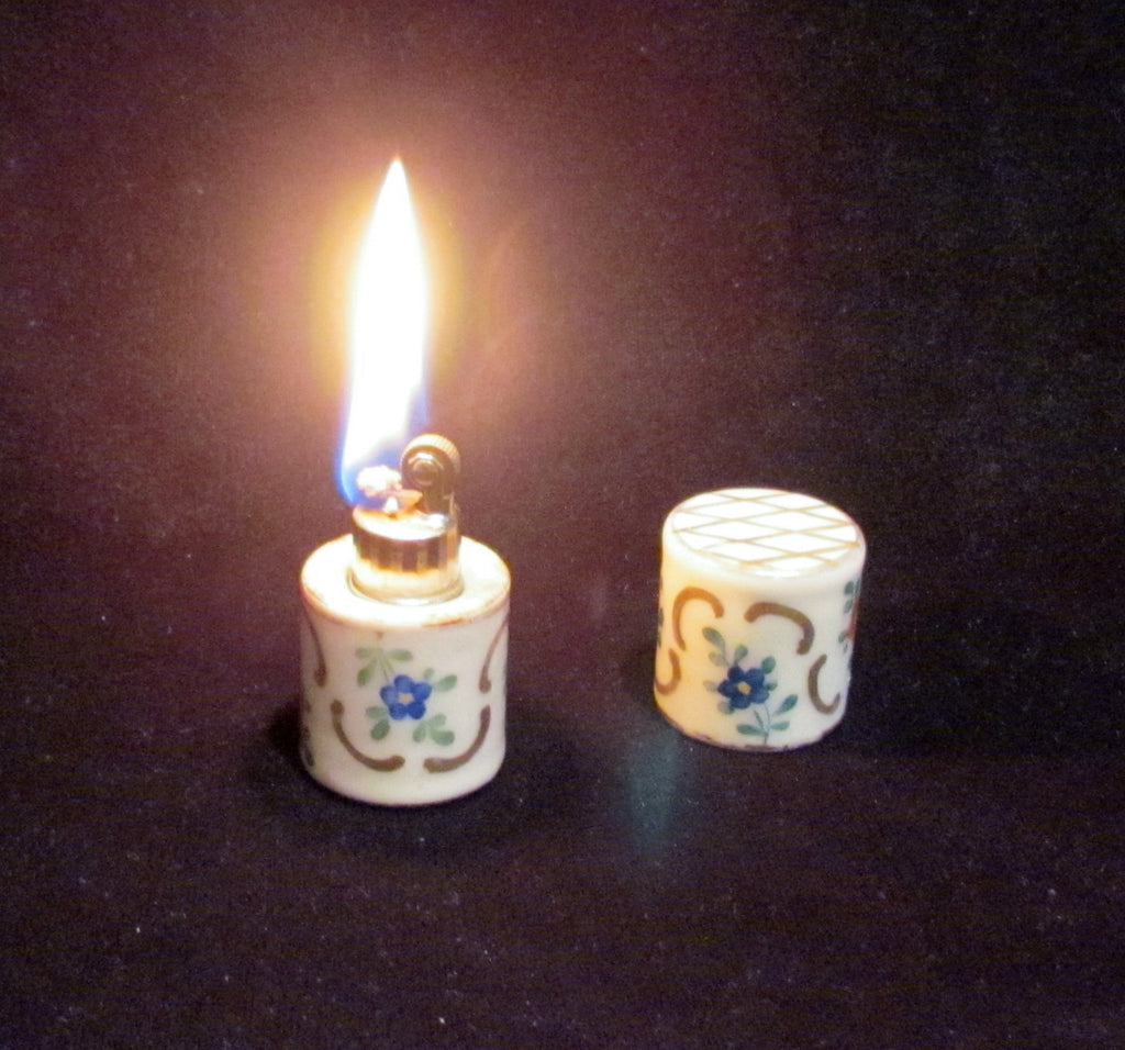 France Porcelain Lighter Vintage Ceramic Table Top Lighter Hand Painted Floral Working