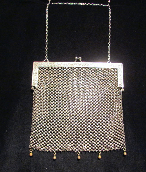 Antique Silver ChainMail Purse Victorian Soldered Mesh Chain Mail