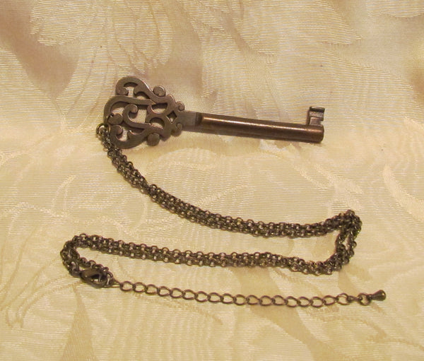 Antique Bronze Key Necklace Ornate Antique Skeleton Key