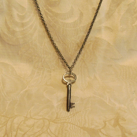 Antique Silver Key Necklace Vintage Skeleton Key Pendant