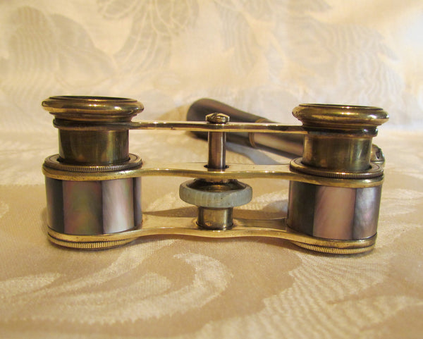 1800s Opera Glasses Purple Mother Of Pearl Theater Glasses With Handle Antique Binoculars MOP