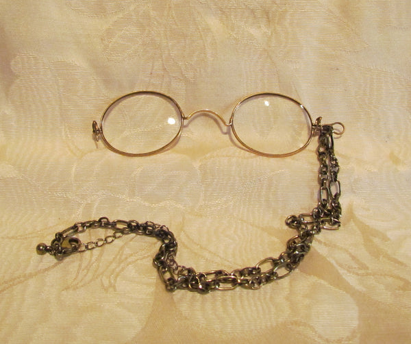 12Kt GF Pince Nez Eyeglasses Victorian Spectacles With Necklace And Case