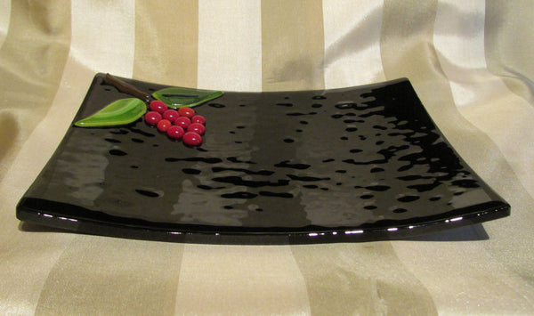 Handmade Black Glass And Red Berry Decorative Plate Serving Dish