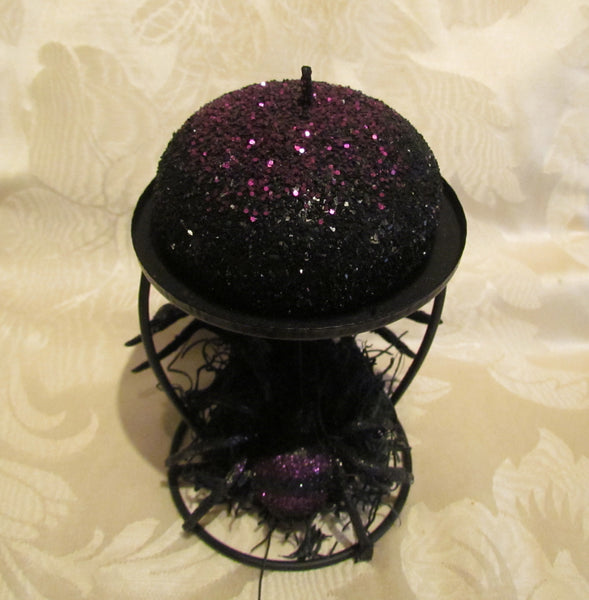 Black Spider Candle Holder Purple Sparkles Halloween Decoration