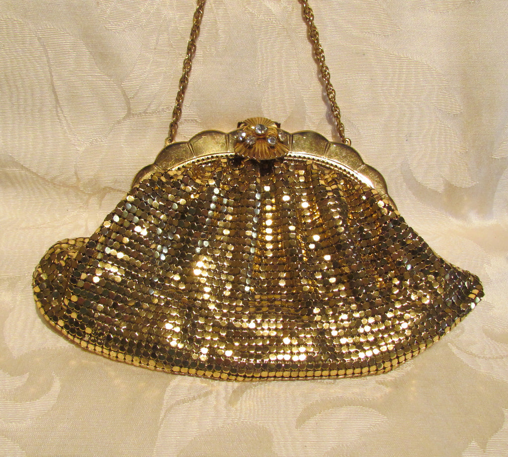 Rhinestone Gold Mesh Purse Duramesh 1940's Glomesh Wedding Purse Unused Mint Condition