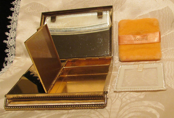 Volupte Compact Purse Art Deco Rhinestone Gold And Moire Unused