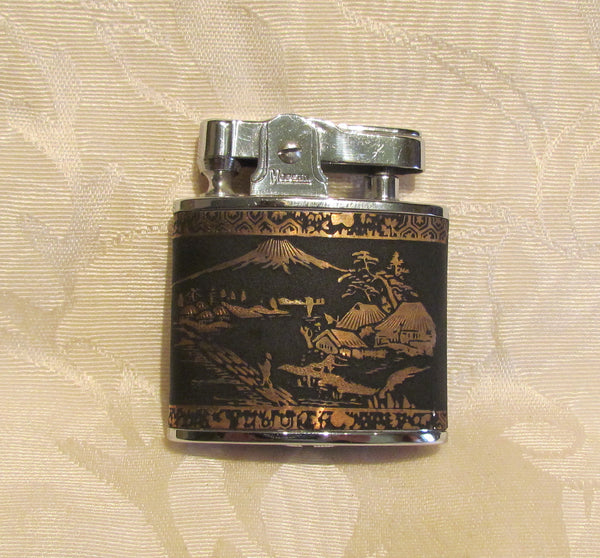 24Kt Gold Asian Lighter Working Prince SuperLighter Mt Fugi Unused In Original Box