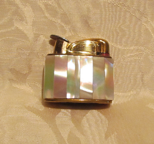 Mother Of Pearl Lighter Evans Gold 1950's Lighter Working