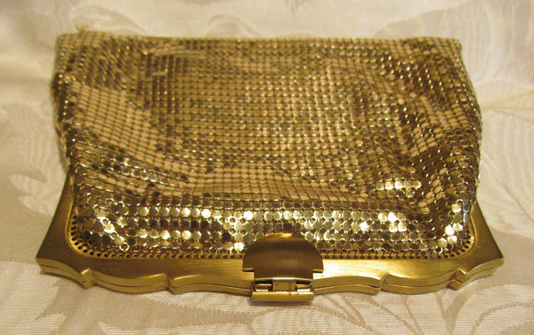 Whiting Davis Gold Mesh Clutch Purse 1930s Mint Unused