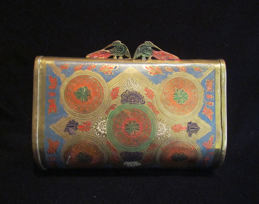 Peacock Pillow Purse 1940s Brass Clutch Shoulder Handbag