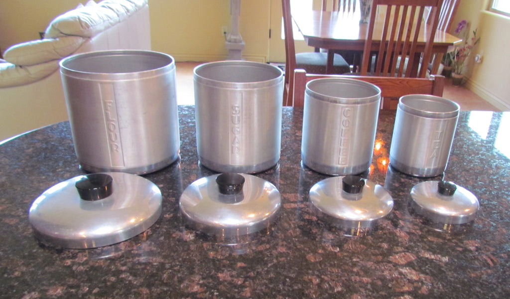 5fbe0bc229b ... 1950s Aluminum Canister Set Mid Century Kitchen Storage Containers  Flour