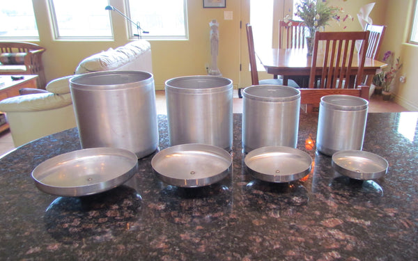 1950s Aluminum Canister Set Mid Century Kitchen Storage Containers Flour, Sugar, Coffee, Tea